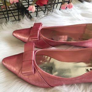 Danita k Designer Pink Bow Flats EUC SZ 9